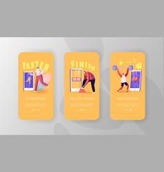 Sports app mobile page onboard screen template vector