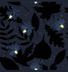 Stars and fireflies on night sky vector