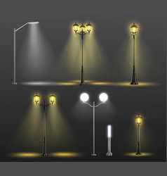 Street lights realistic composition set vector