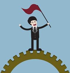 Success businessman on gear vector