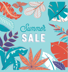 summer sale banner abstract floral background vector image