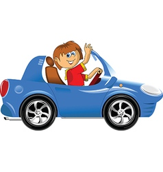 Teen driving car vector image