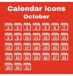The calendar icon October symbol Flat vector image