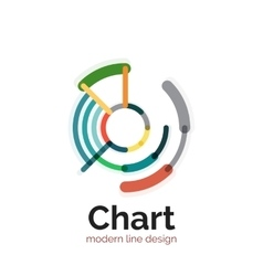 Thin line chart logo design Graph icon modern vector image