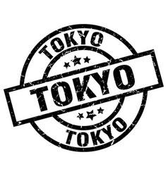 Tokyo black round grunge stamp vector