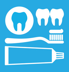 Toothbrush toothpaste and tooth icon vector