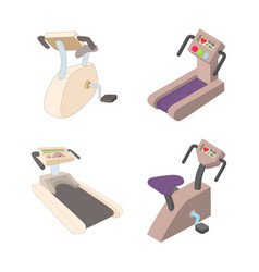 Training apparatus icon set cartoon style vector