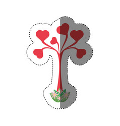 tree shape heart leaves romantic shadow vector image