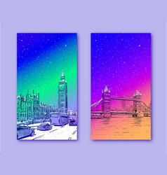 trendy cover tower bridge big ben london vector image