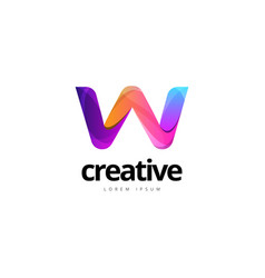 vibrant trendy colorful creative letter w logo vector image