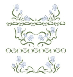 Vignette with blue irises vector