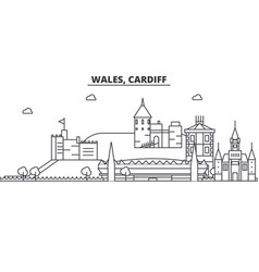 Wales cardiff architecture line skyline vector