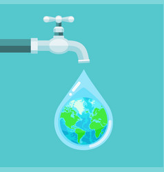 water tap with the earth globe inside water drop vector image