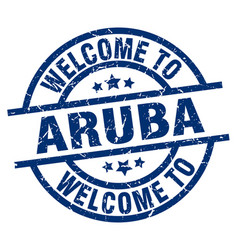 Welcome to aruba blue stamp vector