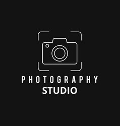 white icons for photographer on black background vector image