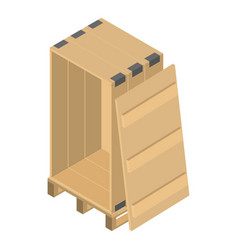 Wood box pallet icon isometric style vector