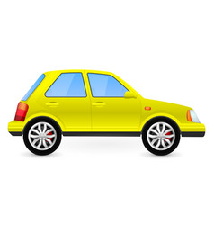 Yellow car side view vector
