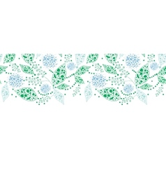 Abstract blue and green leaves horizontal seamless vector image vector image