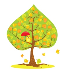 autumn - tree and funny bird vector image