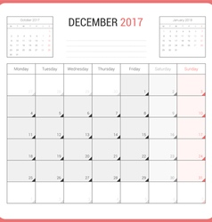 Calendar Planner for December 2017 vector image vector image
