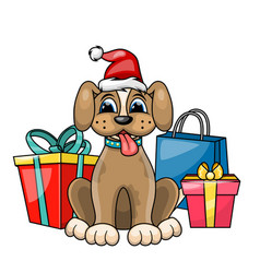 christmas dog in red santa hat with gift boxes vector image vector image