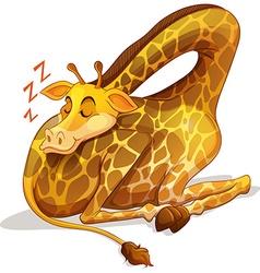 Cute giraffe sleeping alone vector image