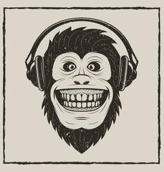 music monkey vintage grunge design vector image