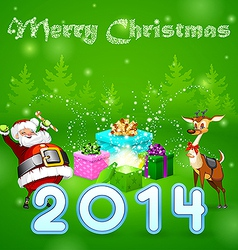 Santa and many magic gifts in forest trees vector image vector image