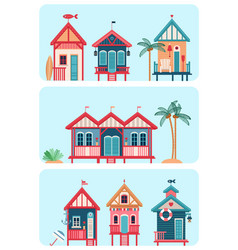 Set of 7 various multicolored beach huts vector