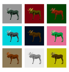 set of in flat style moose vector image