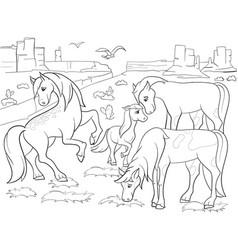 children coloring cartoon horses grazing on meadow vector image