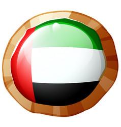 Flag of arab emirates on round badge vector