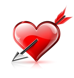 Glossy heart pierced by an arrow vector image vector image