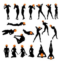 naked girls silhouette set vector image