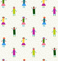Seamless pattern people geometry colorful vector image
