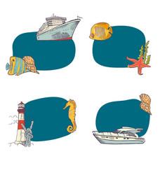 sketched sea stickers set vector image