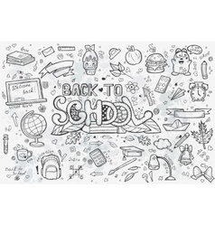A large set of hand-drawn doodles back to vector image vector image
