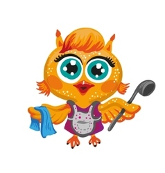 cute owl Cartoon character housewife vector image vector image
