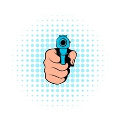Hand pointing with the gun icon comics style vector image vector image