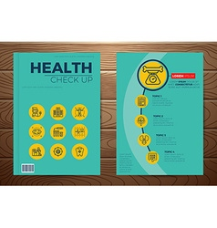 Medical and health check up book cover vector