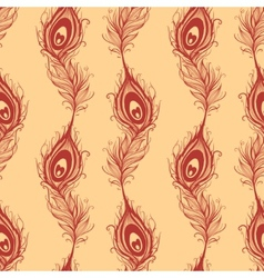 Peacock feather seamless in beige background vector image