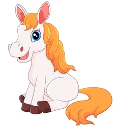 Cute horse sitting vector image vector image