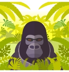 Gorilla on the Jungle Background vector image