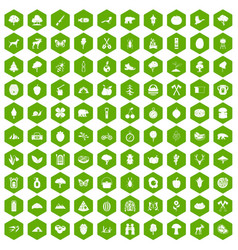 100 camping and nature icons hexagon green vector image