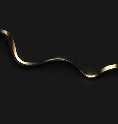 Abstract gold ribbon wave curve shadow on black vector