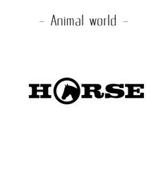 animal world horse text background image vector image