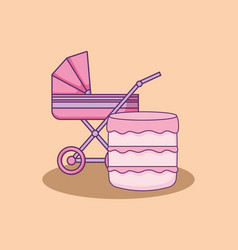 Baby shower card with cart with cake vector