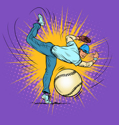 baseball player serves ball vector image