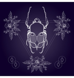 Boho tattoo Blackwork beetle May bug in hipster vector image