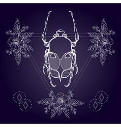 Boho tattoo blackwork beetle may bug in hipster vector